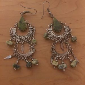 Multidrop Green Stone and Silver wore earrings